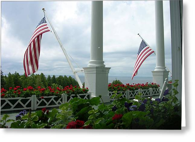Grand Hotel Flags Greeting Card