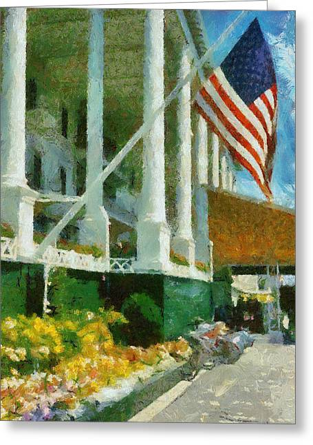 Grand Hotel Mackinac Island Greeting Card by Michelle Calkins