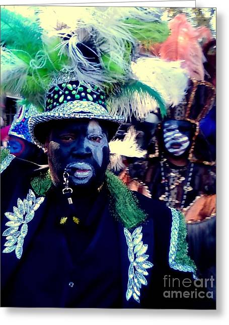 Grand Marshall Of The Zulu Parade Mardi Gras 2016 In New Orleans Greeting Card