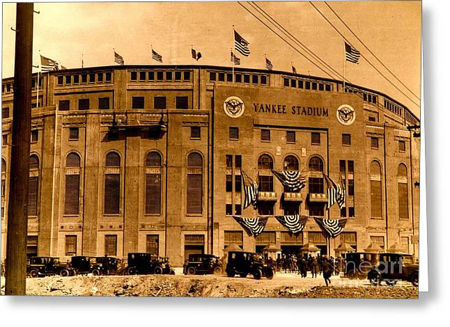 Greeting Card featuring the photograph Grand Opening Of Old Yankee Stadium April 18 1923 by Peter Gumaer Ogden Collection