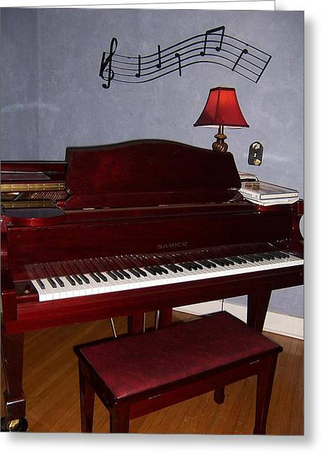 Grand Piano In Blue Room Greeting Card by Joyce Godwin-Grubbs