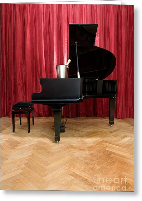 Grand Piano With A Champagne Cooler Greeting Card