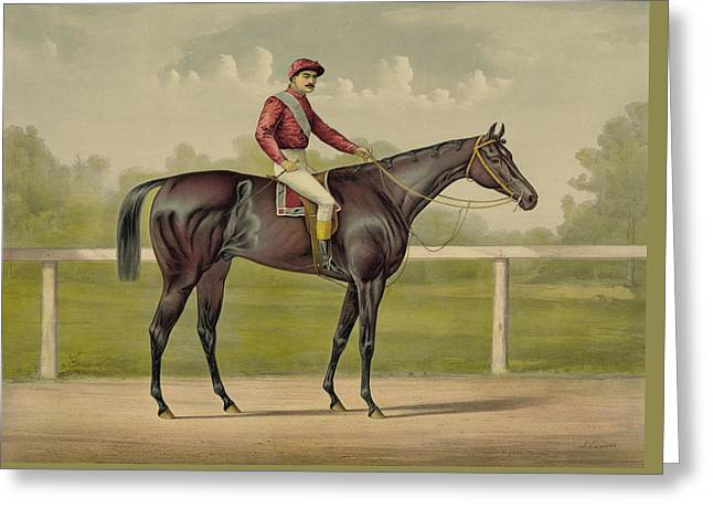 Grand Racer Kingston - Vintage Horse Racing Greeting Card by War Is Hell Store