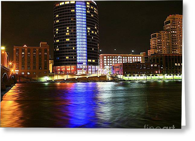 Grand Rapids Mi Under The Lights-6 Greeting Card by Robert Pearson