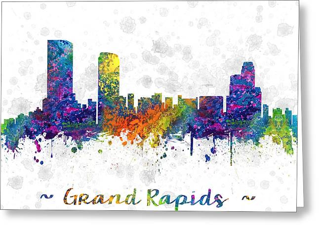 Grand Rapids Michigan Color 03sq Greeting Card by Aged Pixel