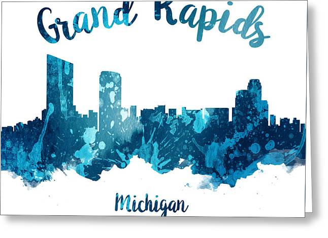 Grand Rapids Michigan Skyline 27 Greeting Card by Aged Pixel