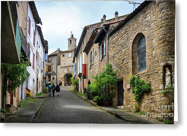 Grand Rue De L'horlogue In Cordes Sur Ciel Greeting Card
