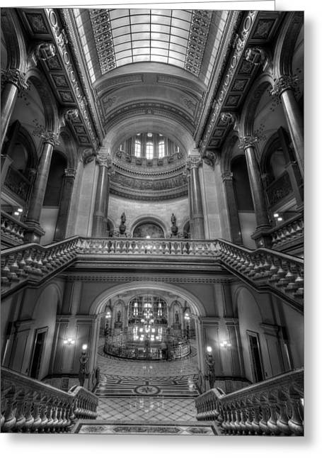 Grand Staircase Illinois State Capitol B W Greeting Card by Steve Gadomski