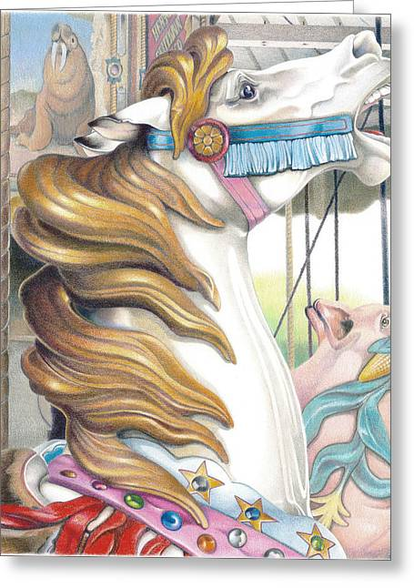 Amusements Drawings Greeting Cards - Grand Strand Stallion Greeting Card by Todd Baxter