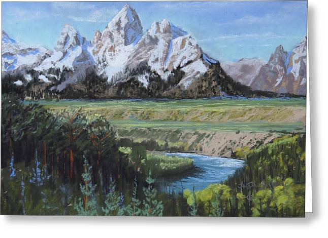 Snakes Pastels Greeting Cards - Grand Teton and Snake River Greeting Card by Heather Coen