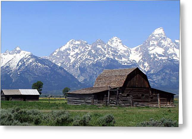 Grand Teton Barn Panarama Greeting Card