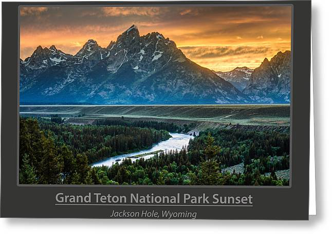 Grand Teton National Park Sunset Poster Greeting Card by Gary Whitton