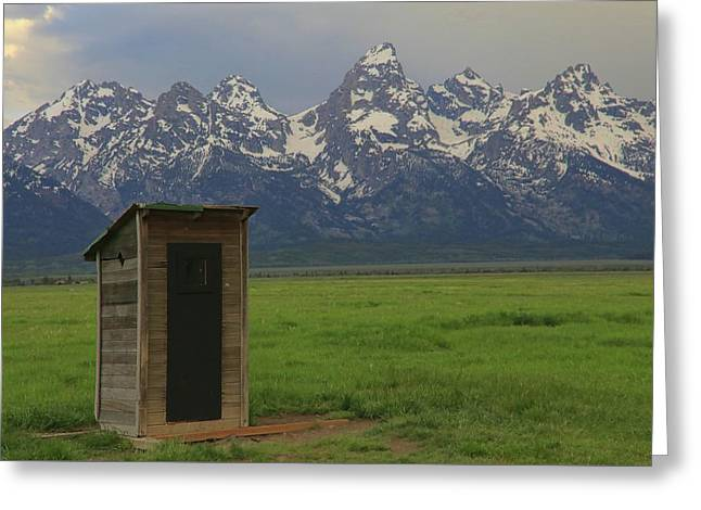 Grand Teton Outhouse Greeting Card by Dan Sproul
