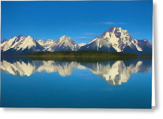 Grand Teton Reflection Wood Texture Greeting Card