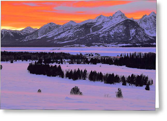 Grand Teton Winter Sunset Greeting Card by Stephen  Vecchiotti