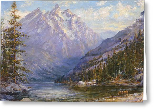 Grand Tetons And Jenny Lake Tryptych Center Greeting Card