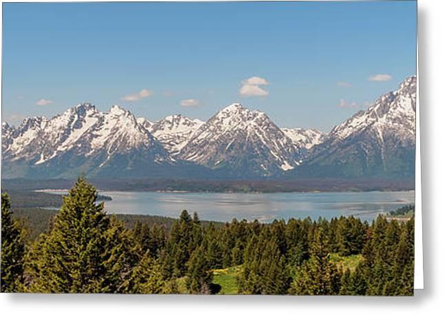 Grand Tetons Over Jackson Lake Panorama Greeting Card