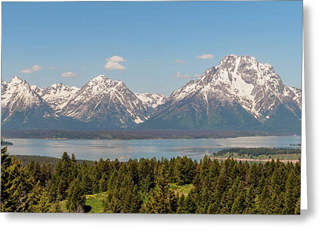 Grand Tetons Over Jackson Lake Panorama Greeting Card