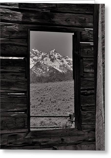 Grand Tetons Through The Window Greeting Card