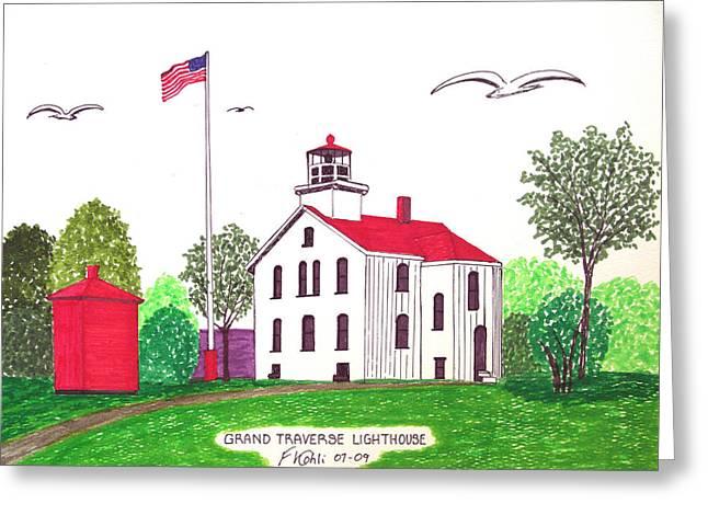 Grand Traverse Lighthouse Greeting Card by Frederic Kohli