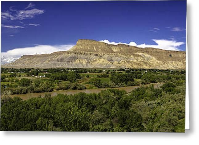 Grand Valley Panorama Greeting Card by Teri Virbickis