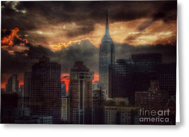 Grandeur Of The Past - Empire State At Sunset Greeting Card by Miriam Danar