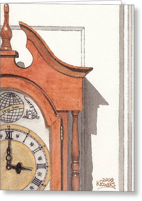 Grandfather Clock Greeting Card by Ken Powers