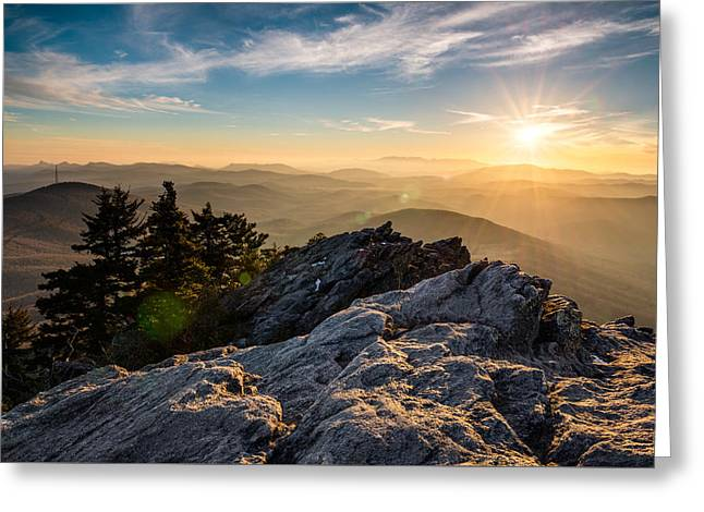 Grandfather Mountain Sunset Blue Ridge Parkway Western Nc Greeting Card