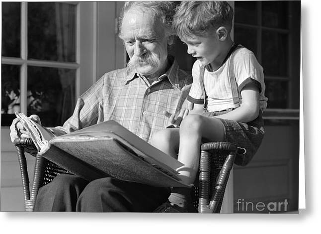 Grandfather Reading To Boy, C.1940s Greeting Card