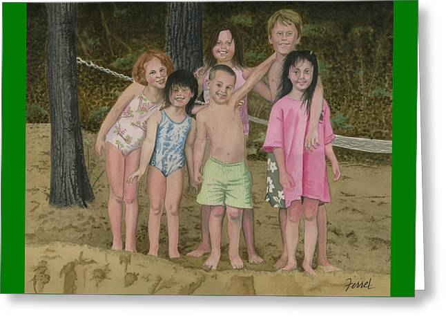 Greeting Card featuring the painting Grandkids On The Beach by Ferrel Cordle