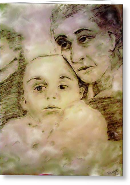 Greeting Card featuring the drawing Grandmas Baby by Shelley Bain