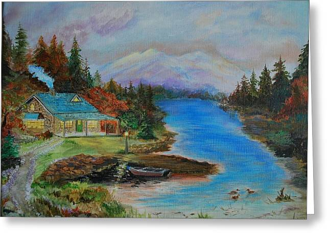 Greeting Card featuring the painting Grandmas Cabin by Leslie Allen