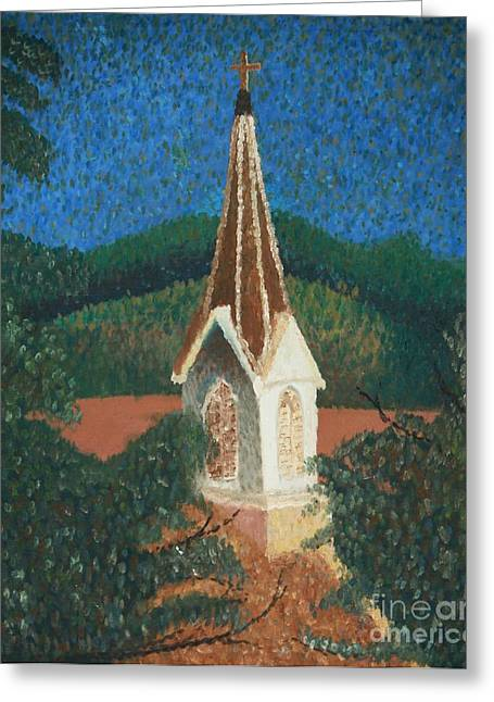 Greeting Card featuring the painting Grandmas Church by Jacqueline Athmann