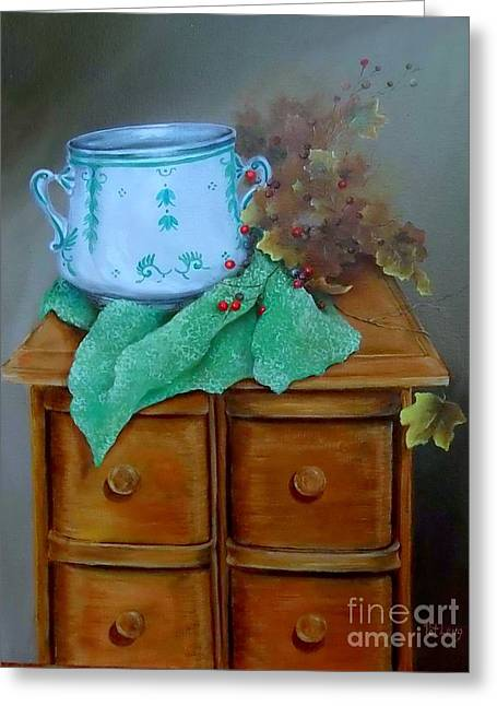 Grandma's Sewing Chest Greeting Card by Patricia Lang