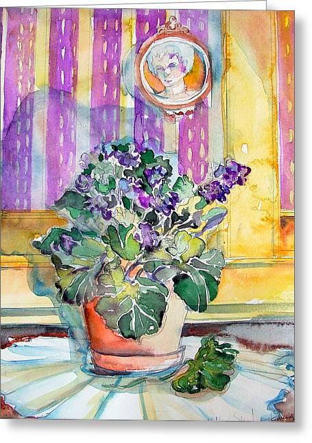 Grandmas' Violets Greeting Card by Mindy Newman