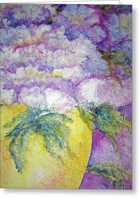 Grandma's Yellow Vase Greeting Card by Sandy Collier