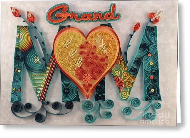 Grandmom With Heart Greeting Card by Felecia Dennis