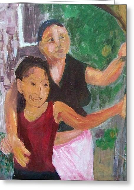 Grandmother And Grand-daughter In  Honduras Greeting Card by Ellen Seymour