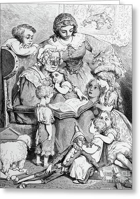 Grandmother Telling A Story To Her Grandchildren Greeting Card by Gustave Dore