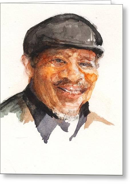 Greeting Card featuring the painting Grandpa John Perkins by Nancy Watson
