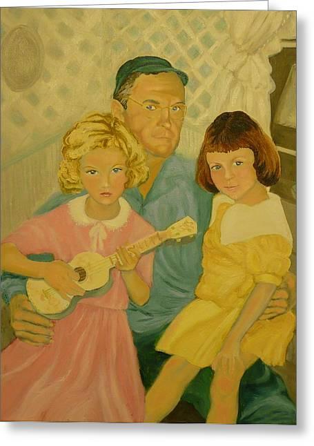 Grandpa's Girls Greeting Card by Virginia Sincler
