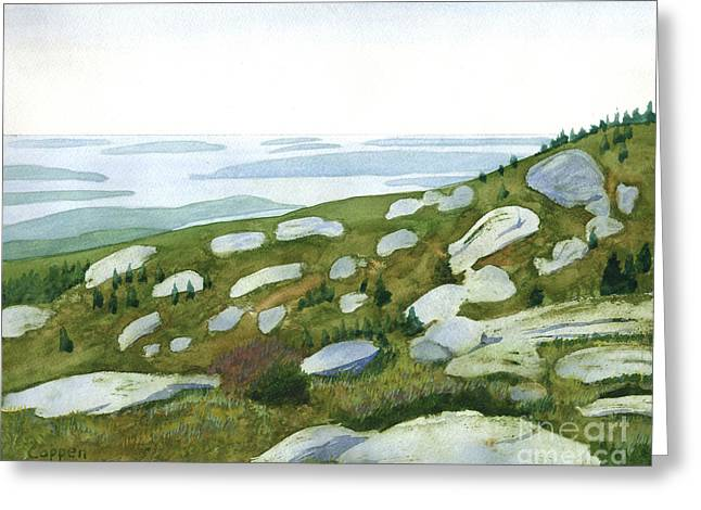 Greeting Card featuring the painting Granite Islands by Robert Coppen
