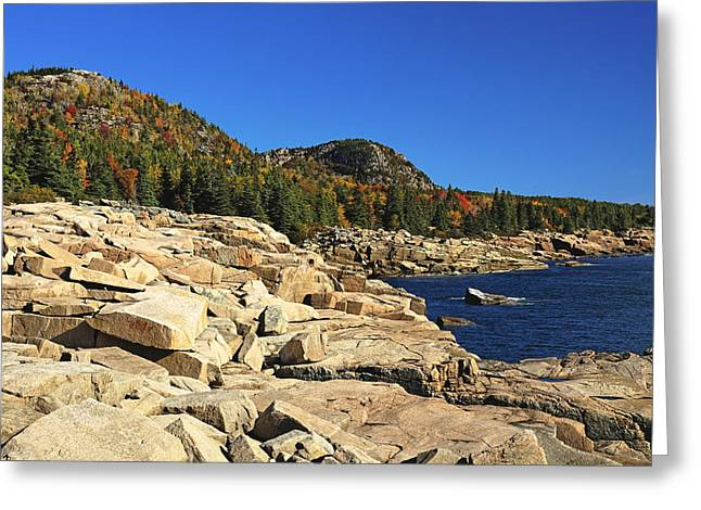 Granite Rocks At The Coast Greeting Card by George Oze
