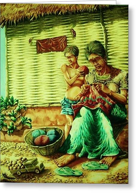 Granny And Grand Son Greeting Card by Pralhad Gurung