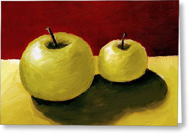 Tabletop Greeting Cards - Granny Smith Apples Greeting Card by Michelle Calkins
