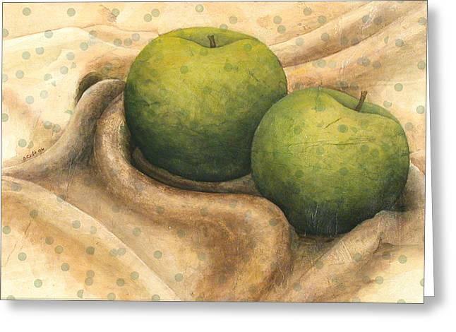 Granny Smith Apples Greeting Card by Sandy Clift