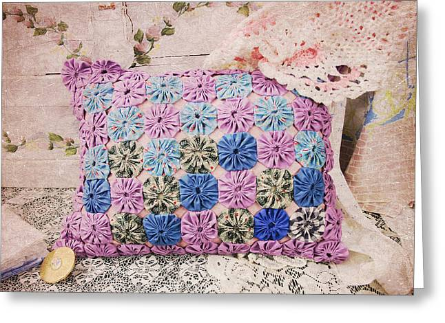 Granny's Pillow Greeting Card by Toni Hopper