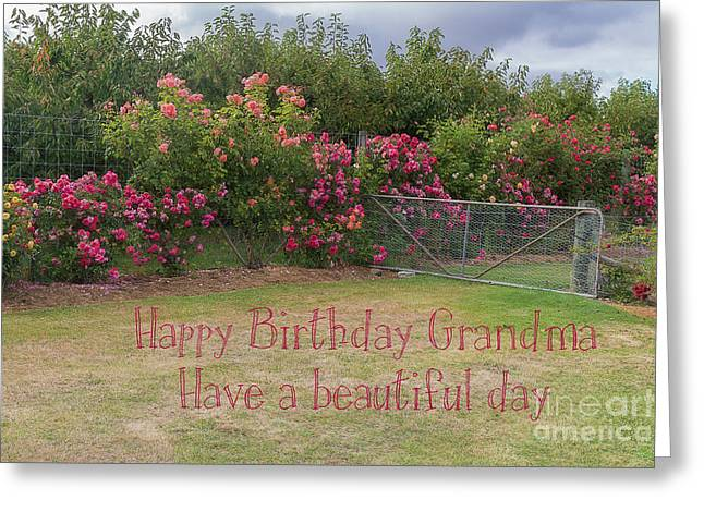 Granny's Rose Garden Greeting Card by Elaine Teague