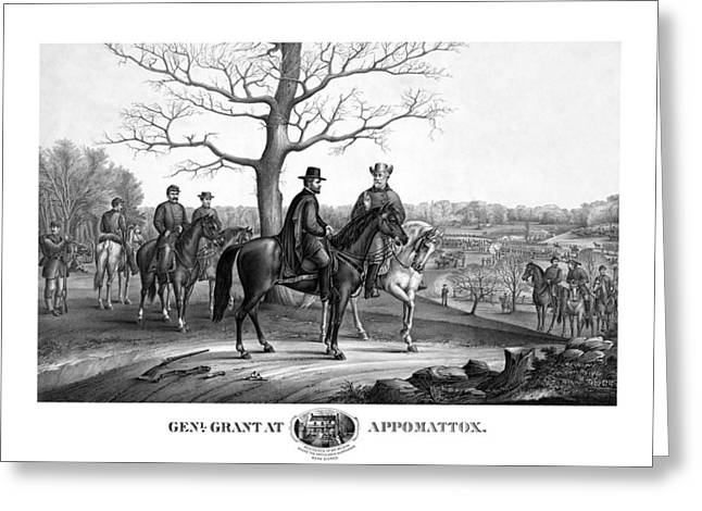 Us History Greeting Cards - Grant And Lee At Appomattox Greeting Card by War Is Hell Store