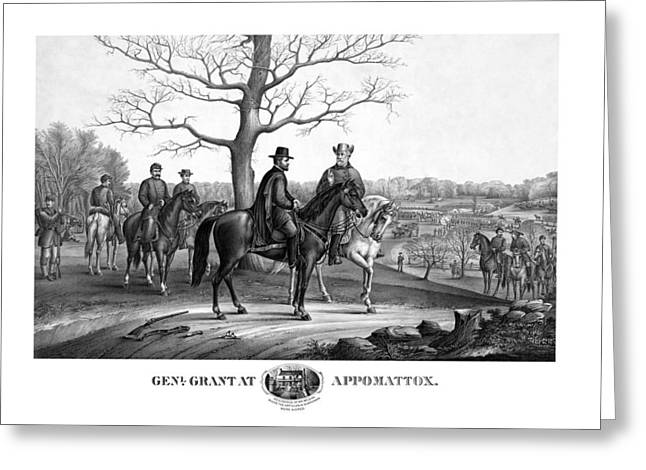 Grant And Lee At Appomattox Greeting Card